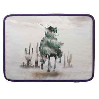Rodeo - double exposure  - cowboy - rodeo cowboy sleeve for MacBook pro