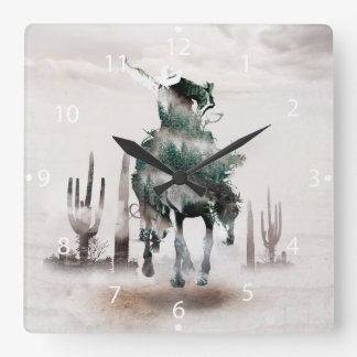 Rodeo - double exposure  - cowboy - rodeo cowboy square wall clock