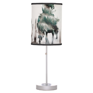Rodeo - double exposure  - cowboy - rodeo cowboy table lamp