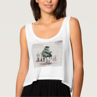 Rodeo - double exposure  - cowboy - rodeo cowboy tank top