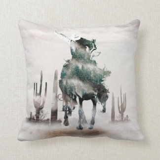 Rodeo - double exposure  - cowboy - rodeo cowboy throw pillow