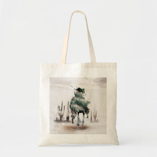 Rodeo - double exposure  - cowboy - rodeo cowboy tote bag