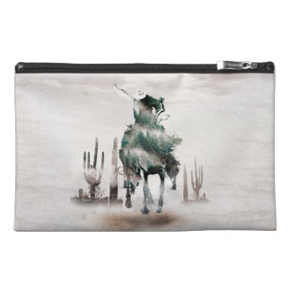 Rodeo - double exposure  - cowboy - rodeo cowboy travel accessory bag