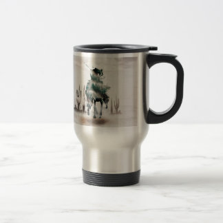 Rodeo - double exposure  - cowboy - rodeo cowboy travel mug