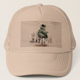 Rodeo - double exposure  - cowboy - rodeo cowboy trucker hat