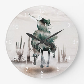 Rodeo - double exposure  - cowboy - rodeo cowboy wall clock