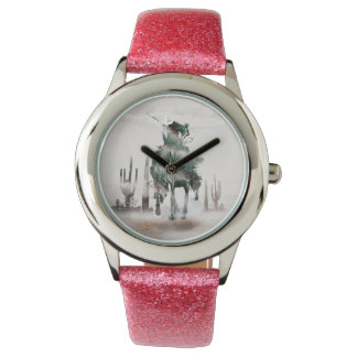 Rodeo - double exposure  - cowboy - rodeo cowboy watch