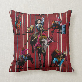 Rodeo Events Cowboys and Cowgirls Western Throw Pillow