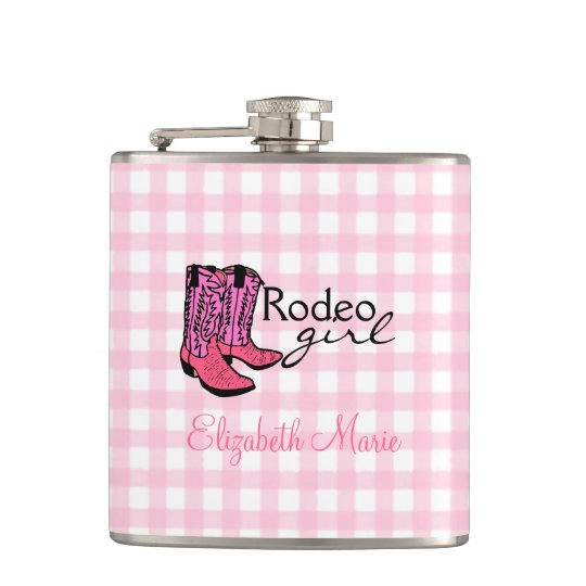 Rodeo Girl- Pink Plaid Gingham Hip Flask