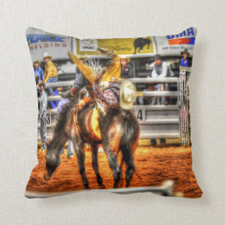 RODEO HORSE & RIDER QUEENSLAND AUSTRALIA THROW PILLOW