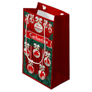 Rodeo Ornaments On Red Holiday Gift Bag