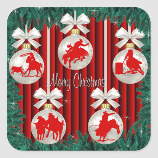 Rodeo Ornaments On Red Holiday Stickers 2