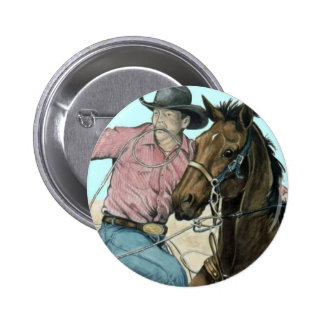 RODEO Partners, Cowboy Steer Wrestling 2 Inch Round Button