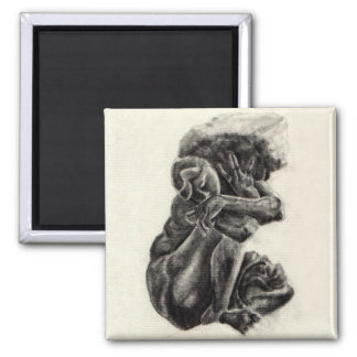 "Rodin Sculpture Sketch Magnet - 2"" x 2"""