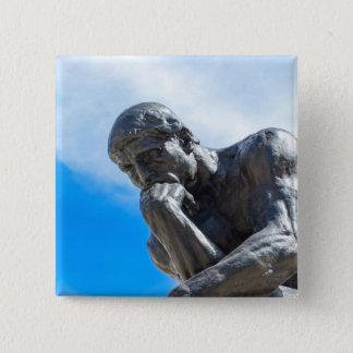 Rodin Thinker Statue 2 Inch Square Button