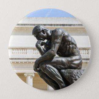 Rodin Thinker Statue 4 Inch Round Button