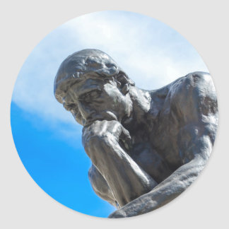 Rodin Thinker Statue Classic Round Sticker