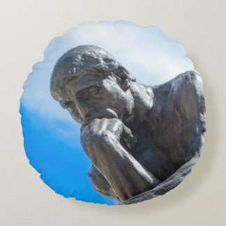 Rodin Thinker Statue Round Pillow
