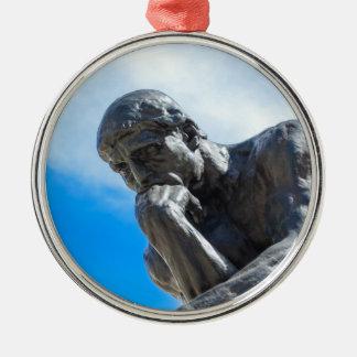 Rodin Thinker Statue Silver-Colored Round Ornament