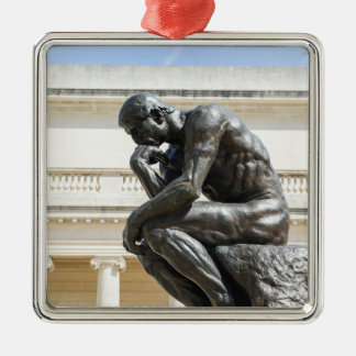 Rodin Thinker Statue Silver-Colored Square Ornament