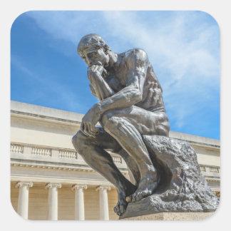 Rodin Thinker Statue Square Sticker