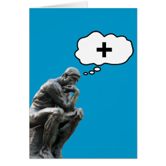 Rodin's Thinker Statue - Think Positive Card