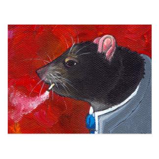 Rodney the Rat - business suit smoking unique art Postcard
