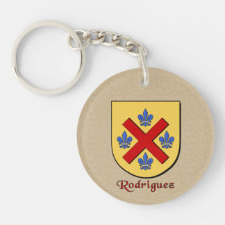 Rodriguez Historical Shield and Mexican Flag Double-Sided Round Acrylic Keychain