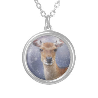 roe-deer silver plated necklace