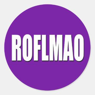 ROFLMAO white on purple Round Sticker