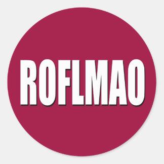 ROFLMAO white on red Round Sticker
