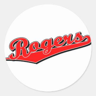 Rogers script logo in red classic round sticker