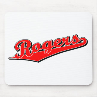 Rogers script logo in red mouse pad