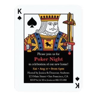 Roi de partie de pendaison de crémaillère de nuit carton d'invitation 10,79 cm x 13,97 cm