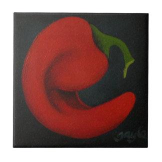 Rojo III chile pepper ceramic tile