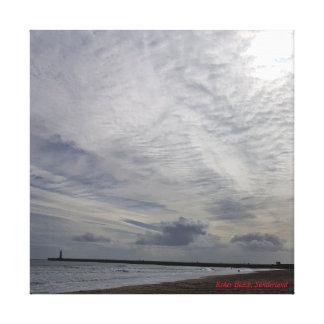 Roker Beach cloudy scene Canvas Print