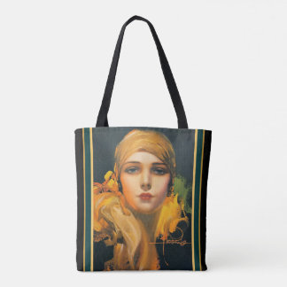 """Rolf  Armstrong Deco """"Flower of the Orient"""" Tote"""