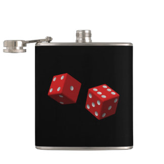 Roll 'Em Red Dice Six One Seven Las Vegas Craps Hip Flask