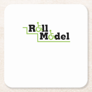 Roll Model Disability Awareness Gift Wheelchair Square Paper Coaster
