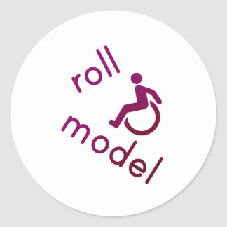Roll Model - Disability Tees - in purple Classic Round Sticker