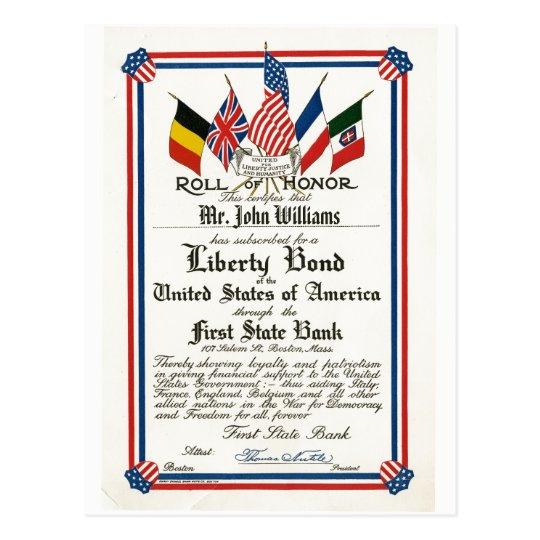 Roll of Honour Patriotic Liberty Bond Vintage Postcard