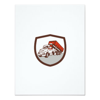 """Roll-Off Bin Truck Driver Thumbs Up Shield Cartoon 4.25"""" X 5.5"""" Invitation Card"""