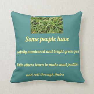 Roll through the grass throw pillow