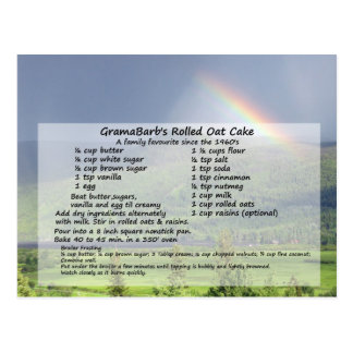 Rolled Oat Cake Recipe Postcard