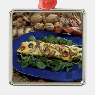 Rolled omelette with shiitake and chorizo - metal ornament
