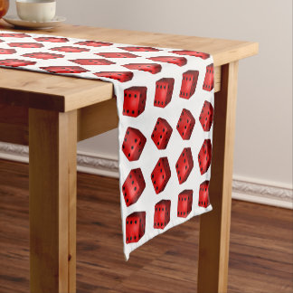 Rolled Sixes Red Dice Bunco Style Short Table Runner