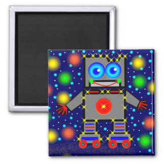 Roller Blading In Space Square Magnet