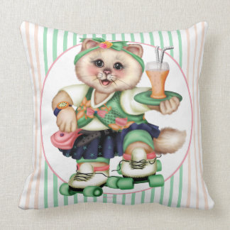 ROLLER CAT 2 CUTE THROW PILLOW 20 X 20