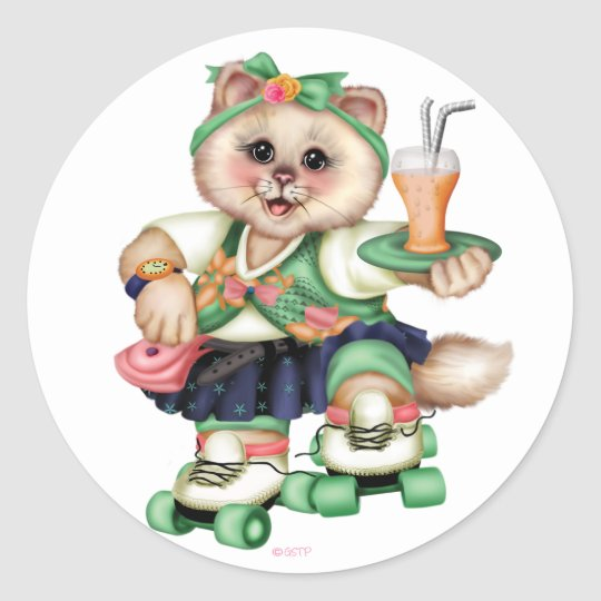ROLLER CAT CARTOON AutoCollant ROUND Stickers