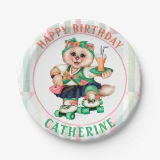 "ROLLER CAT CUTE CARTOON  Paper Plates 7"""